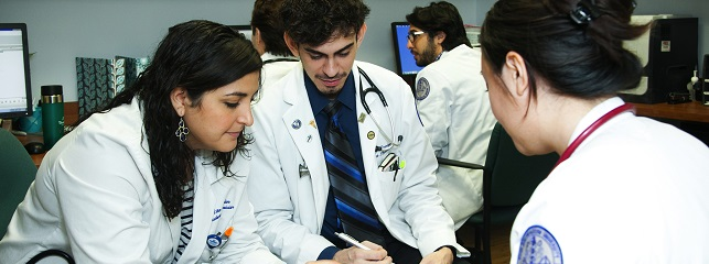 Osteopathic medical students work together in the Department of Family Medicine